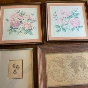 Lot # 259 - Four pieces of framed vintage art