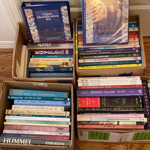 Lot # 264  - 4 boxes full of antique research and pricing guide books