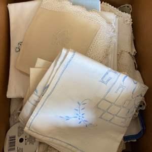 Lot # 277 - Box full of vintage linens