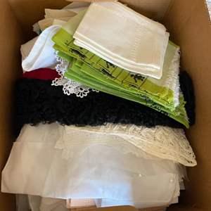 Lot # 279  - Box full of vintage linens