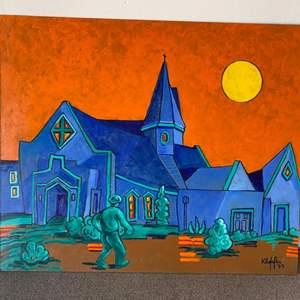 "Lot # 14 - 1999 Klopfer original painting "" Saint Barnabas' Church"" on board 24x20"