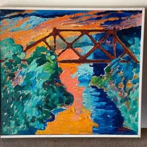 "Lot # 29 - 1974 Klopfer original painting  on canvas ""the rusty bridge over Colorado at Yuma"" 18x18"