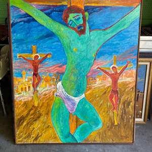 Lot # 37 - 1972 Klopfer original oversized painting on canvas 53x45