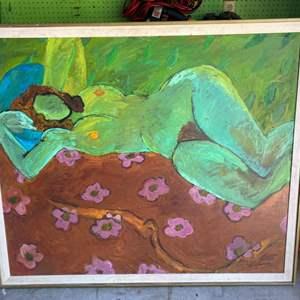 Lot # 42 - 1965 Sydney Helfman original oversized painting on canvas 52x43