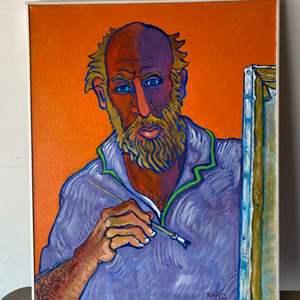 Lot # 44 - 1997 Klopfer original painting on canvas self portrait 31x25