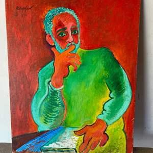 Lot # 54 - 1970 Klopfer original painting, portrait of Sydney Helfman on canvas 28x22
