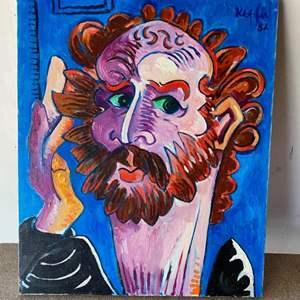 Lot # 57 - 1982 Klopfer original painting self portrait on canvas 20x24