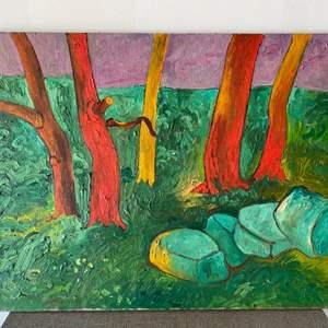 "Lot # 61 - 1970 Klopfer original painting on canvas ""Topanga"" 30x37"