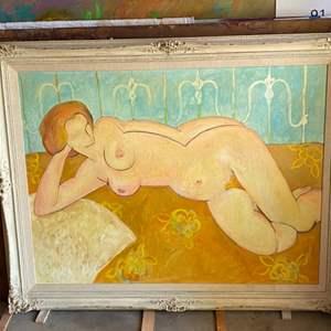 Lot # 94 - 1969 Klopfer original oversized painting on canvas for Bob Crane of Hogans Hero's 46x37 framed