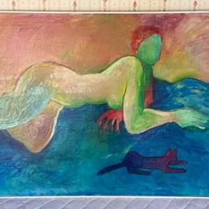 Lot # 107 - 1968 Klopfer original painting on canvas 32x40 framed