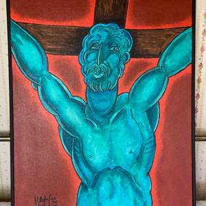"""Lot # 109 - 1999 Klopfer original painting on canvas """"Christ with cross"""" 31x25"""