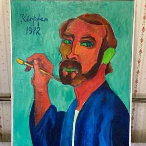 Lot # 111 - 1972 Klopfer original painting on canvas 31x25 framed