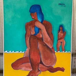 """Lot # 115 - 1993 Klopfer original painting on canvas """"Two Nudes"""" 33x39"""