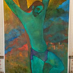 Lot # 120 - 1972 Klopfer original painting on canvas  crucifixion 34x42 framed