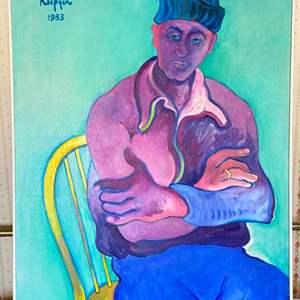Lot # 121 - 1983 Klopfer original painting of Sydney Helfman on canvas 42x34 framed