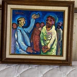 Lot # 123 - Klopfer original painting on board 12x11 framed