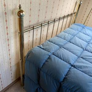 Lot # 124 - Brass bed headboard and rails