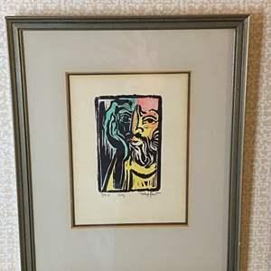 """Lot # 129 - Klopfer numbered 7/20 litho framed """"self"""" 12x10"""