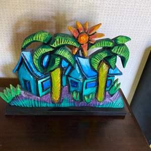 "Lot # 134 - 2001 Rich Klopfer ""Twin Palms"" cast aluminum art"