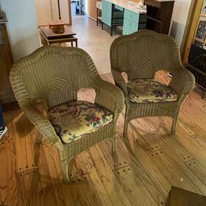 Lot # 142 - Pair of all-weather wicker chairs with cushions (Cushions match lot # 15)