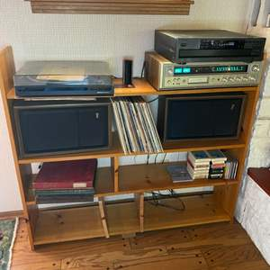 Lot # 144 - Vintage electronics with Fisher tuner/8 track, speakers, albums, CD's and shelving unit