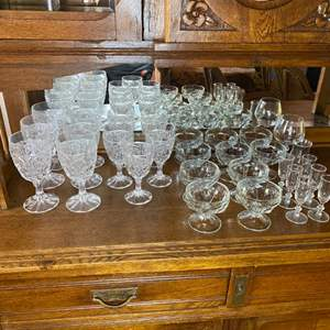 Lot # 145 - Vintage crystal stemware and pressed glass goblets