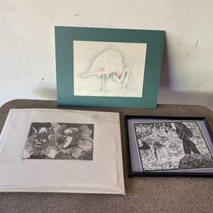 Lot # 163 - Three pieces of art from different artists