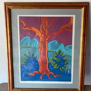 """Lot # 178 - """"Red tree"""" Serigraph by Don Klopfer"""
