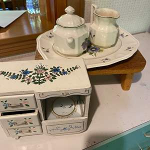 Lot # 189 - Vintage jewelry box, small wooden riser and cream & sugar set