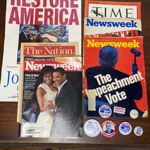 Lot # 204 - Political pins and vintage magazines