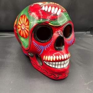 Lot # 212 - Mexico day of the dead ceramic skull