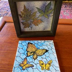 """Lot # 256  - Mid century Ramona Tile & Porcelain Co. two 6""""x6"""" hand painted tile by D Klopfer"""