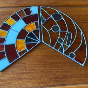 Lot # 258 - Two stained glass fans