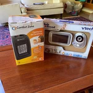 Lot # 262 - Color monitor w/ camera and ceramic heater