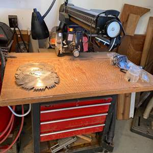 Lot # 3 - Craftsman radial arm saw mounted on industrial drawer cabinet with wheels and dust catch basin