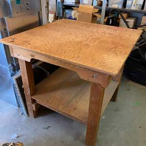 Lot # 5 - Sturdy wood work table with extra top