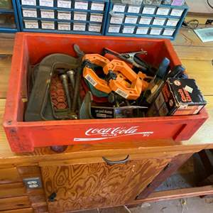 Lot # 22 - Various clamps including Coca-Cola box