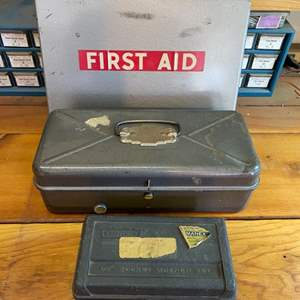 """Lot # 23 - 1966 First Aid kit, full tool box and Craftsman 1/4"""" socket wrench set"""