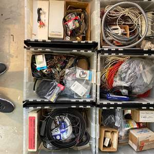 Lot # 33 - Six totes full of electrical and electronics with full electrical wire dispenser