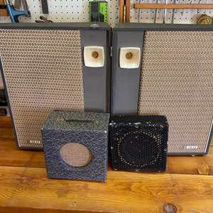 Lot # 36 - Pair of Akai model SS-55 portable speakers and miscellaneous speakers