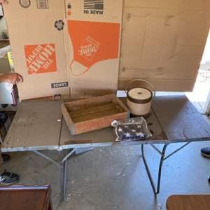 Lot # 65 - Folding metal camping table, Santa Maria Coca-Cola bottle box, ice bucket and folded American flag