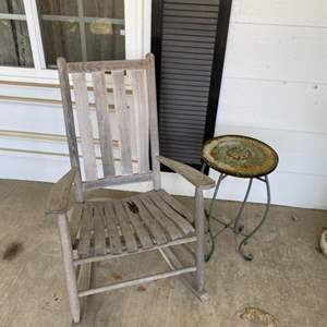 Lot # 91 - Wood rocking chair and tile top table