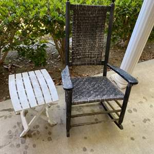 Lot # 92 - Rocking chair with side table