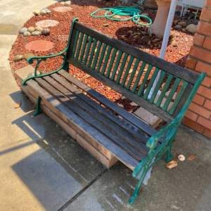 Lot # 96 - Cast iron and wood garden bench