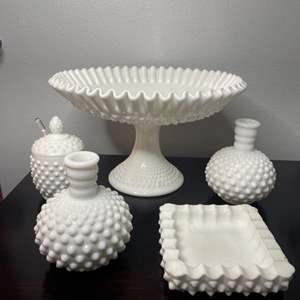 Lot # 113 - Vintage milk glass items