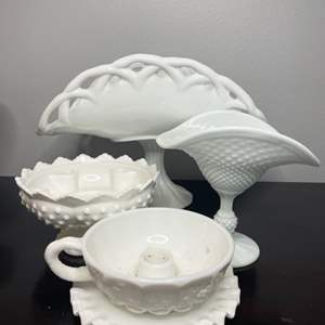 Lot # 114 - Vintage milk glass items