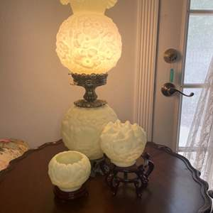 Lot # 124 - Vintage Fenton (uranium) Custard Poppy Flowers Gone With The Wind Lamp and matching vases