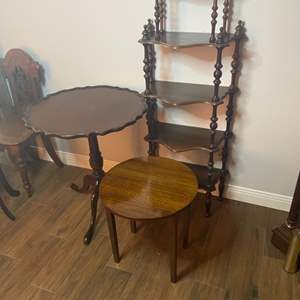 Lot # 126 - Two small antique tables and wall shelf
