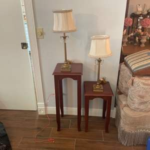 Lot # 142 - Two matching lamps with two tables