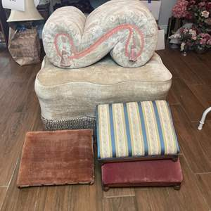Lot # 144 - Ottoman and foot stools